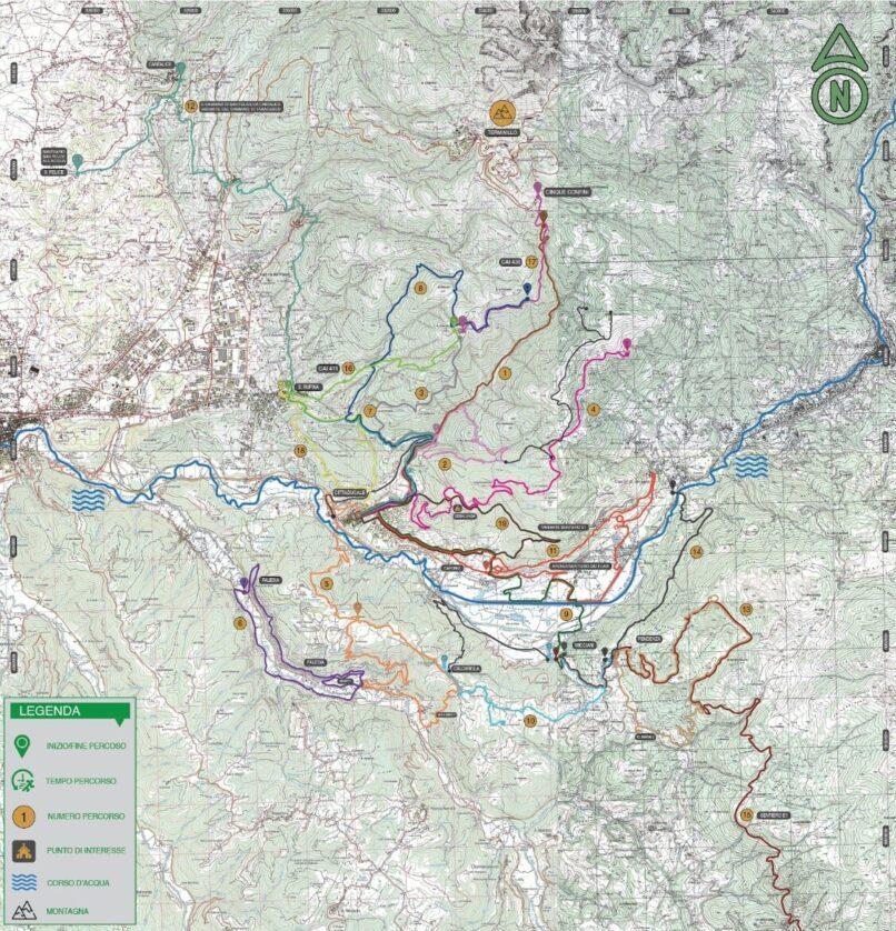 Cartina con percorsi Trekking realizzata per il Comune di Cittaducale